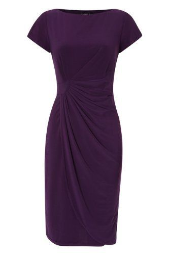 Roman Originals - Womens Side Pleat Wrap Dress - Wedding Prom Bridesmaid Evening Party Cocktail Occasion Formal - Going Out Vintage Day Work Smart Casual - Bodycon Shift - Jersey Stretch - Ladies Dresses Purple by Roman Originals, http://www.amazon.co.uk/dp/B00EDOFS88/ref=cm_sw_r_pi_dp_B7xDsb0XF7DBX