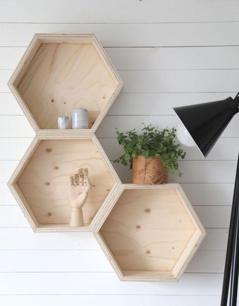 Hexagonal wooden shelfes by Luona In