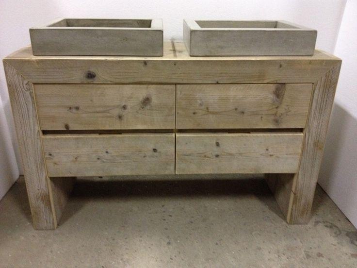 Badmeubel steigerhout met betonnen wasbakken wolf pinterest wasbakken badkamer en - Eigentijdse wastafelkast ...