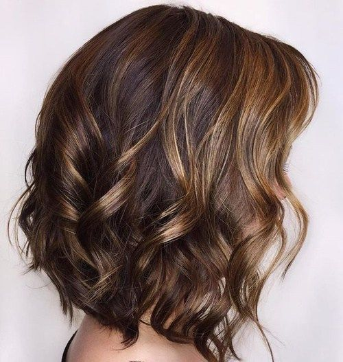 Curly Brown Bob With Caramel Highlights