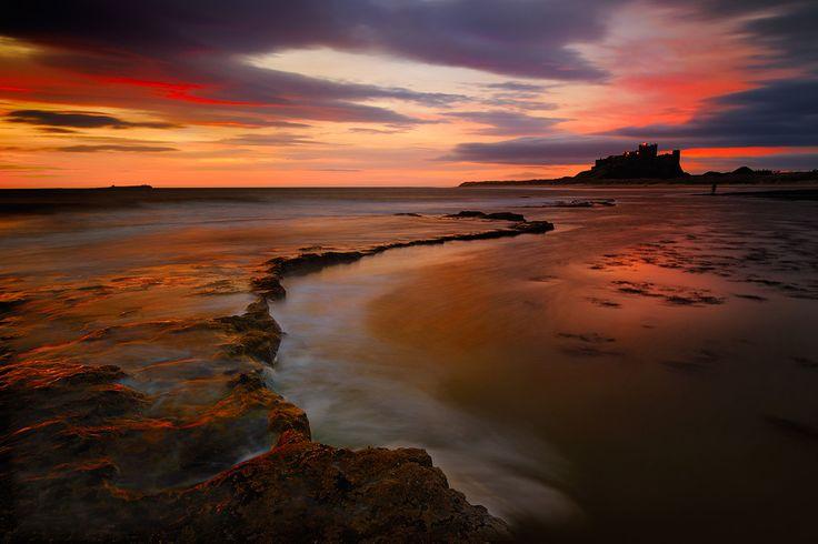 Sunrise at Bamburgh Castle, Northumberland, England.