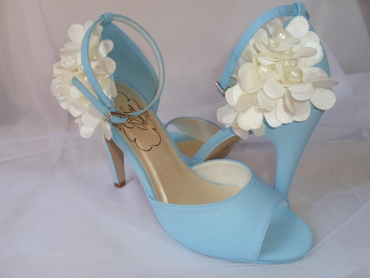 Katherine from Joy Bridal shoes in beautiful sky blue with Ivory flower detail