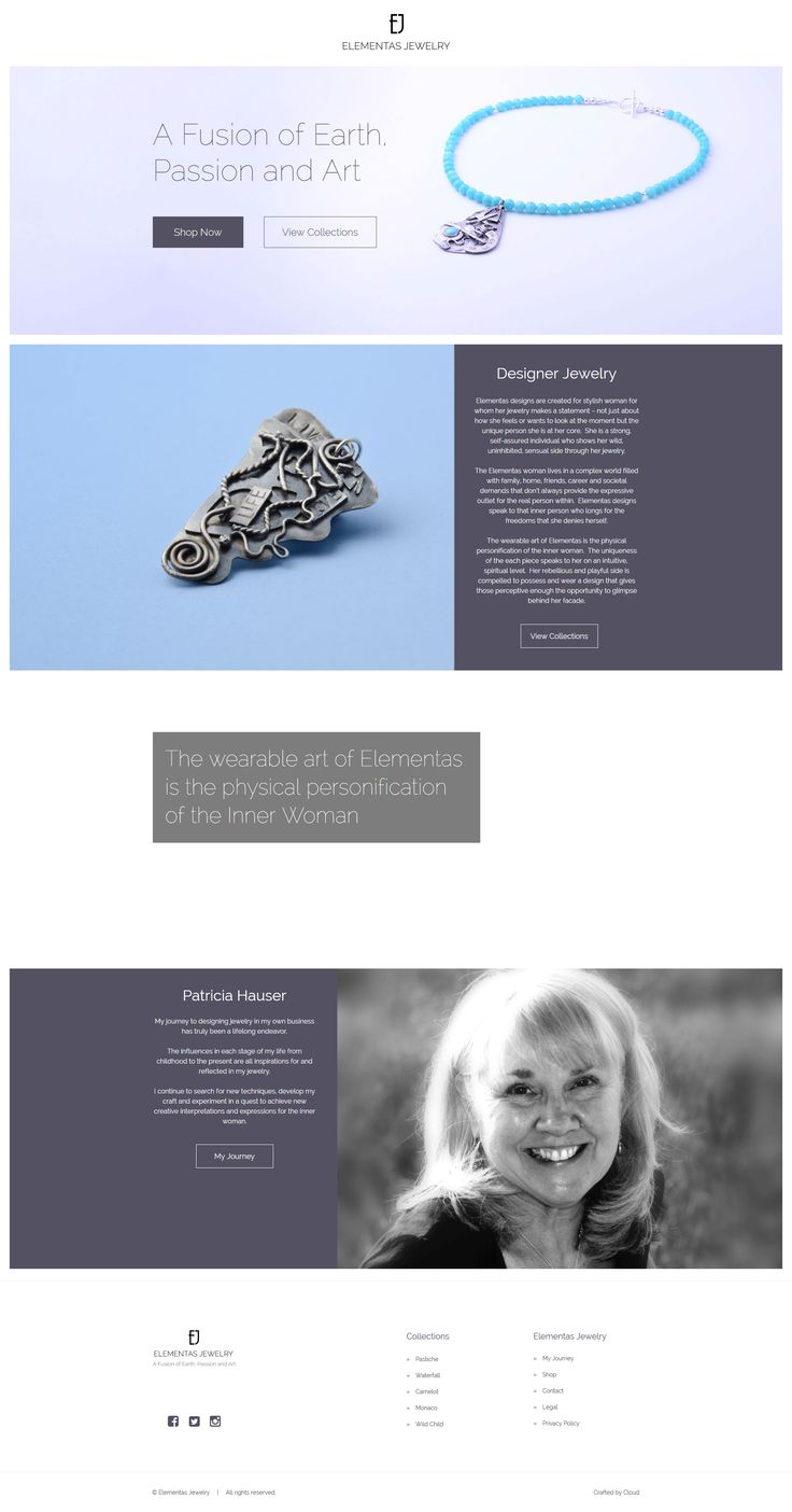 Website created for Jewellery Designer Patricia Hauser of Elementas Jewelry in Minnesota, USA. #website #webdesign #jewelry #minnesota #jewellery #bradford  Check out the site or read about it's development at http://www.cloudwebagency.com/portfolio-elementas-jewelry.html