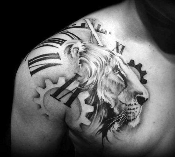 Roman Numeral Numbers With Gears And Lion Head Guys Shoulder Tattoo