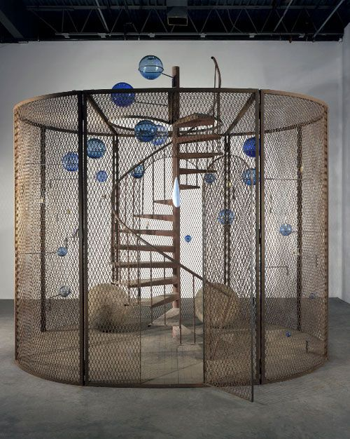 Louise Bourgeois: Cell (The Last Climb), 2008.  Steel, glass, rubber, thread and wood.