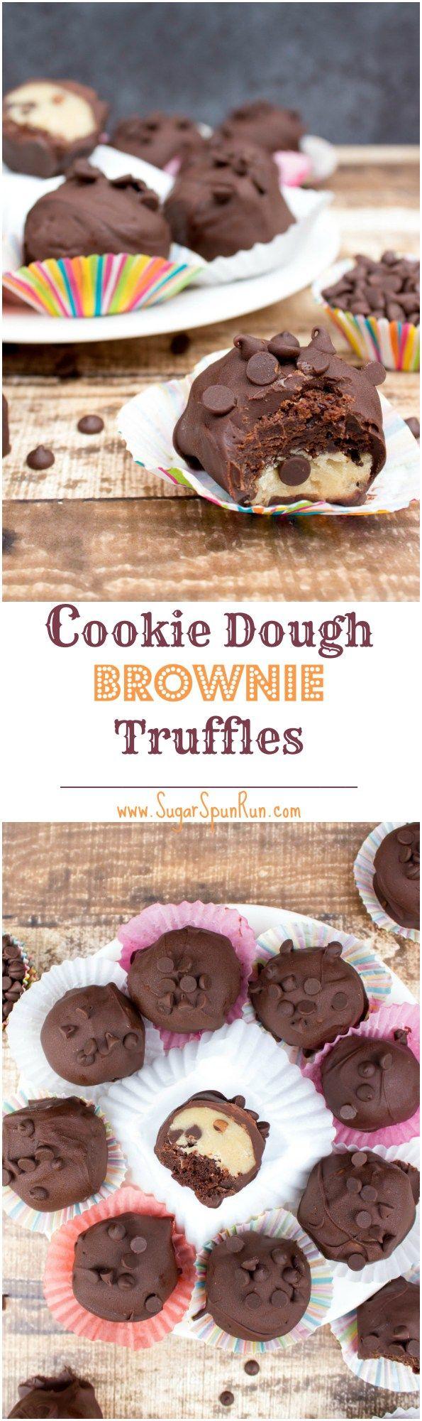 Cookie Dough Brownie Trüffeln - mit rohem (Ei-frei) Plätzchenteig aus SugarSpunRun