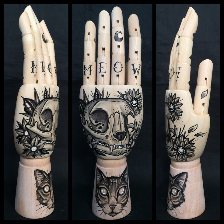 Wooden hand mannequin with original drawings of a cat and cat skull 'tattoo style' door Inkspirednl op Etsy https://www.etsy.com/nl/listing/255822167/wooden-hand-mannequin-with-original