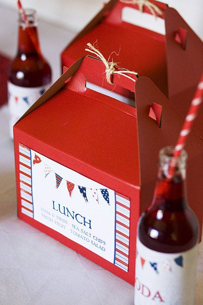 Since we are just having a small family gathering, I think it would be fun to have these as individual picnic lunches!  10 Red Kraft Gable Boxes 8 x 4 7/8 x 5 1/4 by partypapers on Etsy, $15.00