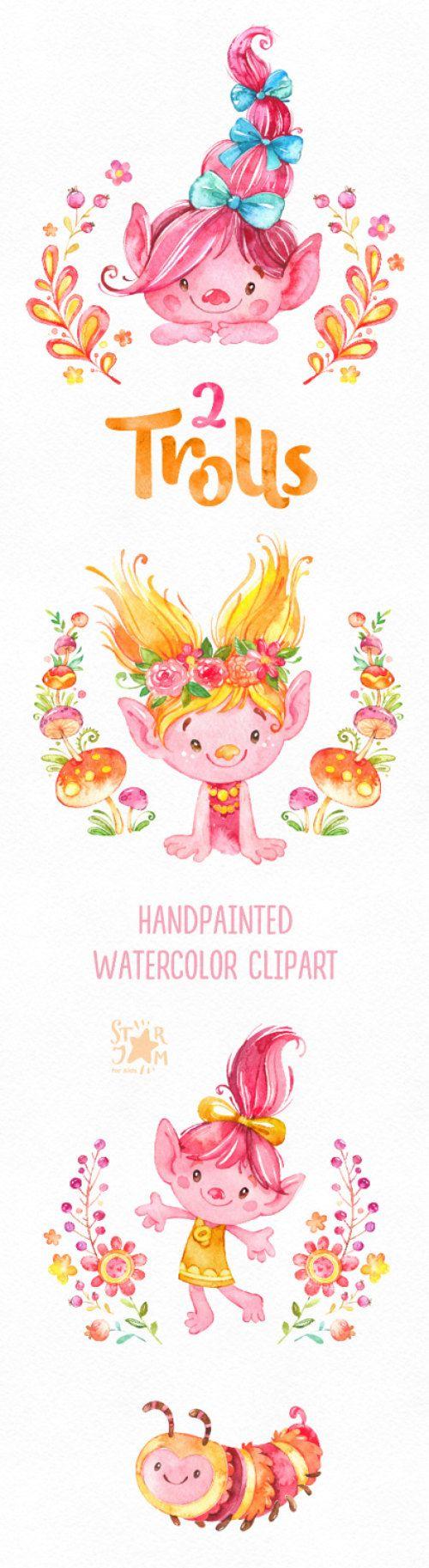 2 les trolls. Clipart aquarelle pavot poupées personnages