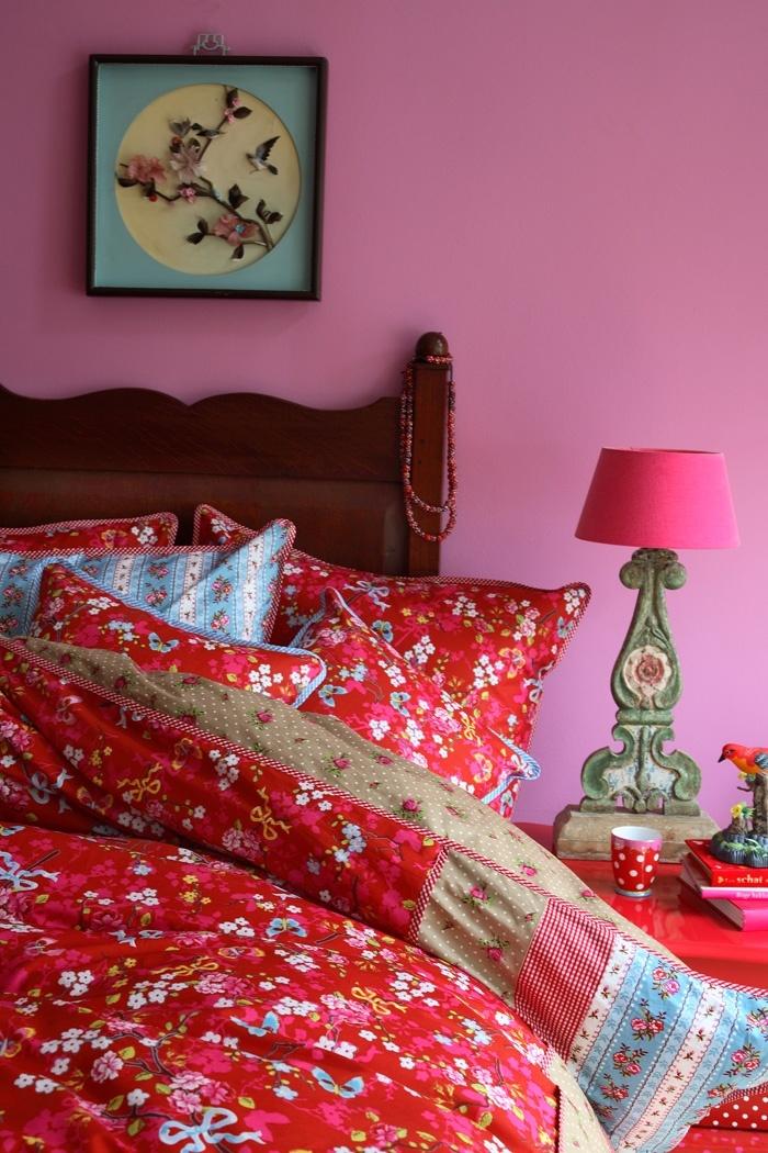 Kinderkamer beddengoed | PiP Chinese Rose dekbedovertrek rood