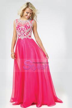 2015 Scoop A-Line Chiffon&Tulle Floor-Length Prom Dresses With Beads Color Fuchsia $ 189.99 STPJABPYGA - StylishPromDress.com