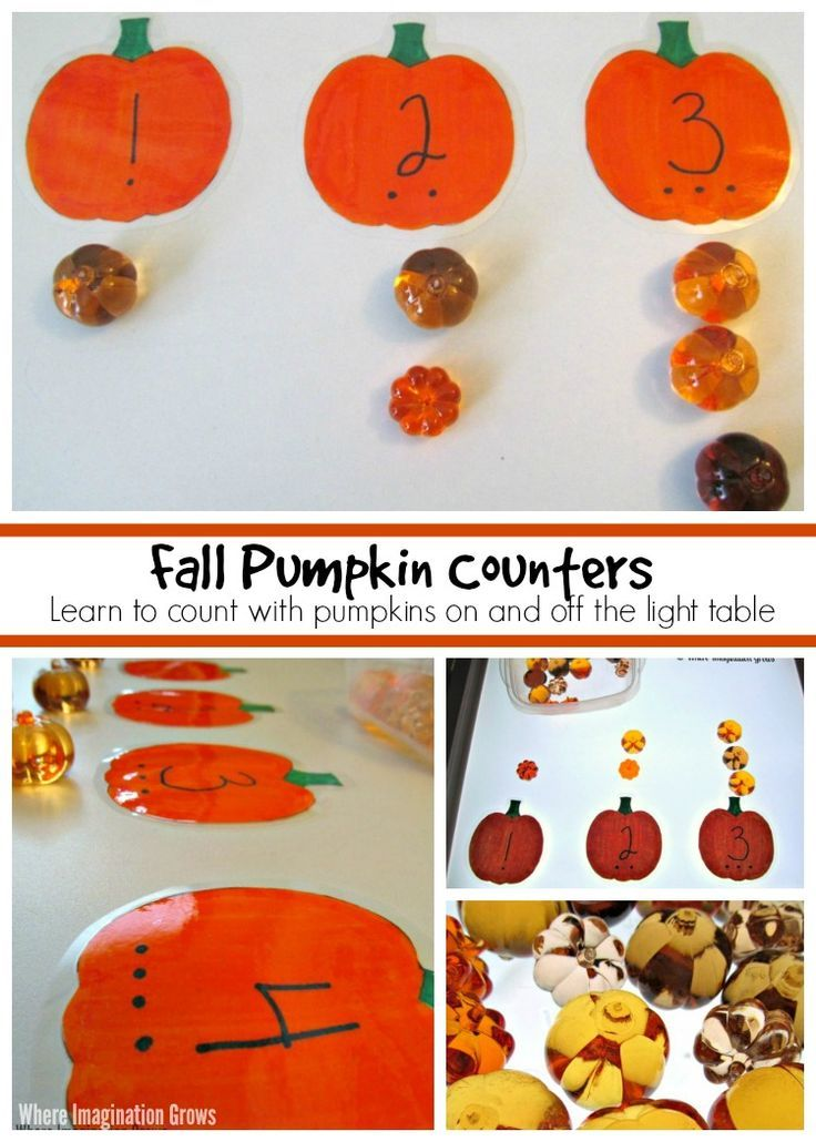 Pumpkin counting activity & light table play for preschoolers! A fun Montessori inspired counting activity for fall