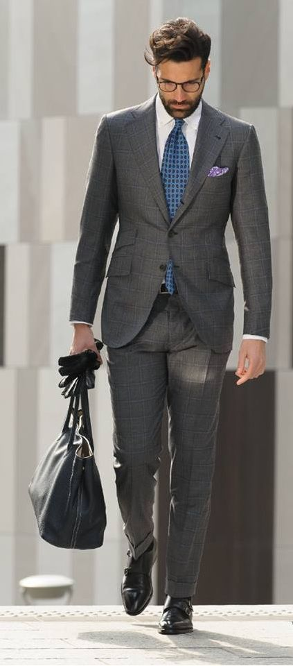 Love the large but subtle check and the purple pocket square, blue tie combo