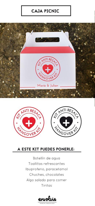 Nada mejor que un kit anti resaca para entregarle a los invitados de tu boda al finalizar la fiesta. Lo agradecerán... ¡y mucho!  Hemos creado 4 ilustraciones de estos kits, aplicables a cualquier cajita y personalizable con vuestros nombres, fecha, foto, etc. Esta es la idea 1: la caja Picnic  #kitantiresaca #kit #bodas #boda #regalosparabodas #detallesdebodas #detalledeboda #cajapicnic #packaging #ideasparabodas #DIY