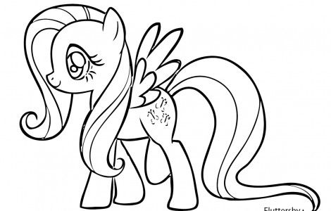 My little pony coloring pages fluttershy i love for Fluttershy my little pony coloring page