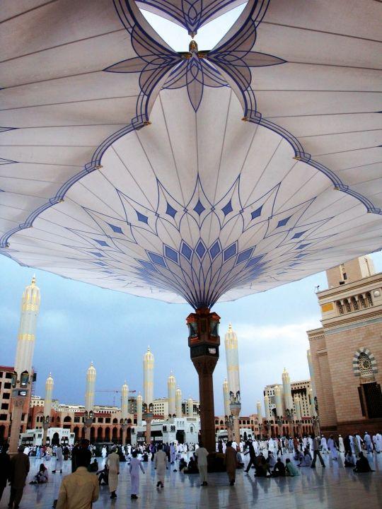 Huge umbrellas over the Medina Haram Piazza in Saudi Arabia