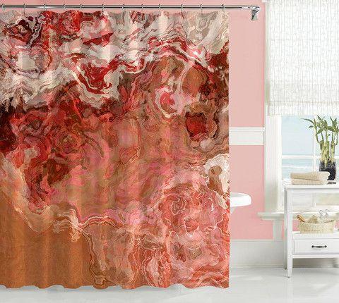 Abstract art shower curtain, peach and cream shower curtain, Just Peachy