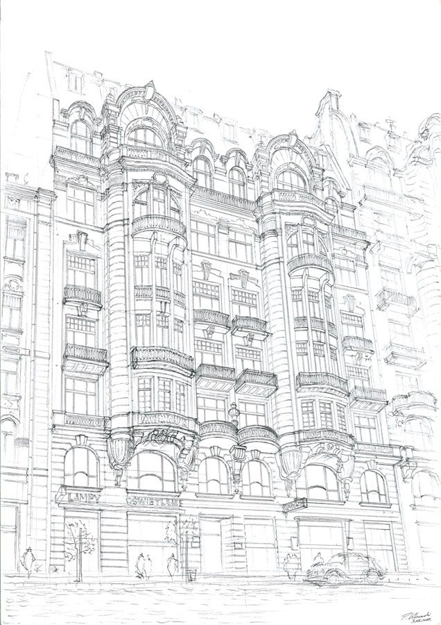 Moniuszki 4 (1910) tenement house sketch in Warsaw, destroyed in 1944. Drawn up by Piotr Kilanowski (2011).