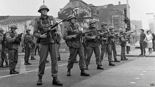 British troops on Falls Road, Belfast 1969