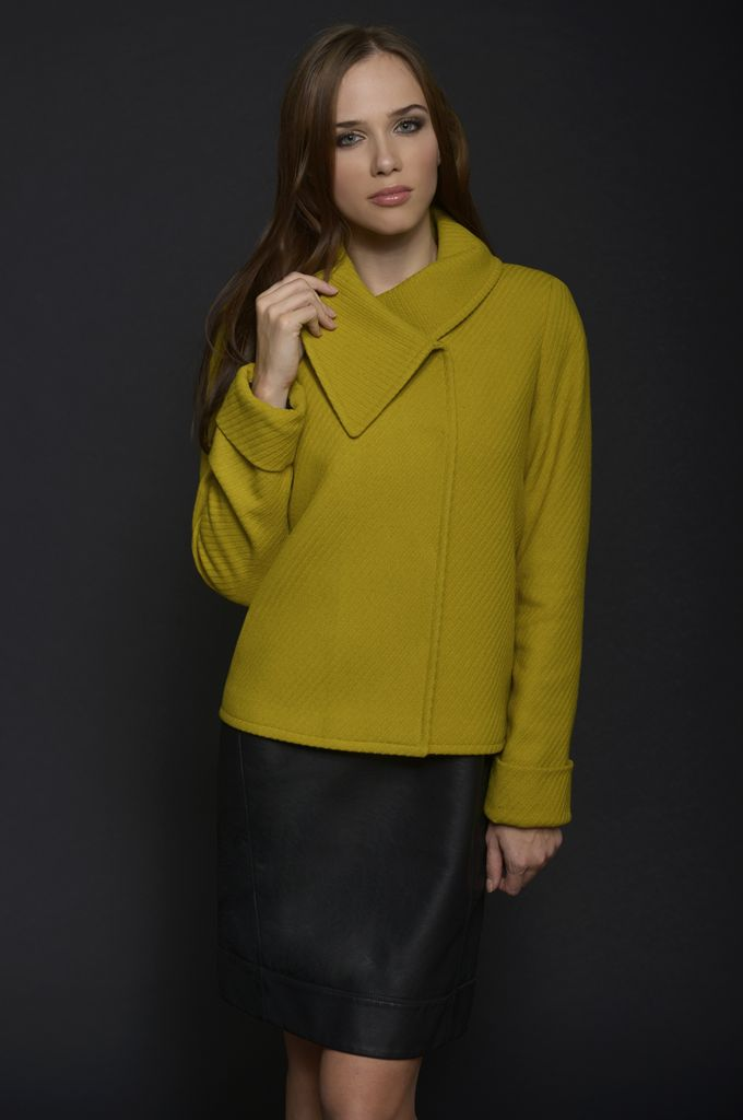 Sarah Lawrence - A line jacket with oversized collar, short sleeve leatheret dress.