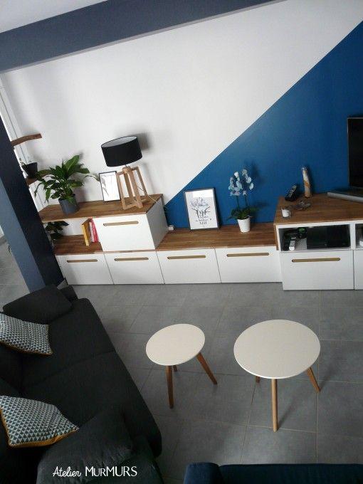 1000 id es propos de murs bleu ardoise sur pinterest for Peinture sejour deux couleurs