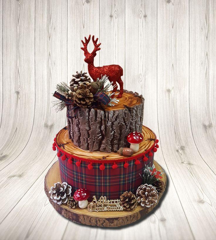 Christmas cake. Bark. Fondant. Tree. Woodland. Deer. Stag. Pinecone. Tartan.