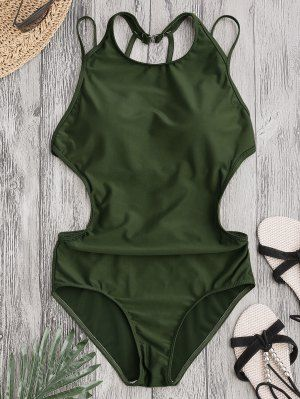 Padded Back Strappy Swimwear - Army Green