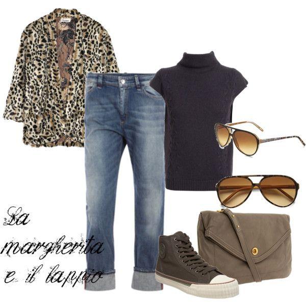 leopard faux-fur coat with jeans