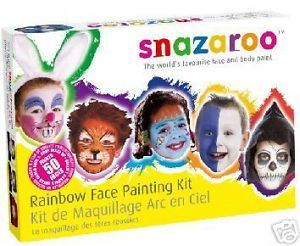 SNAZAROO Professional Face Painting Paint 50 Faces Make Up Guide Rainbow Kit Set | eBay
