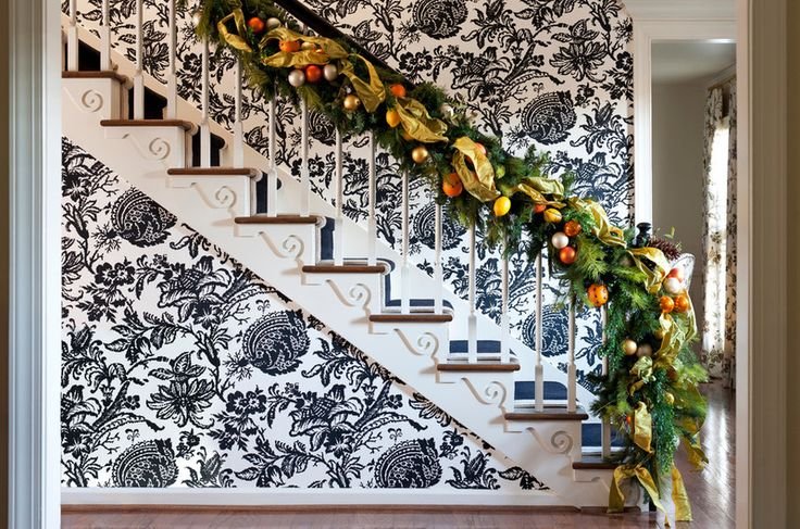 12 Home Hot Spots for Holiday Decorating: Holiday Ideas, Decor Design, Christmas Design, Christmas Decorations, Christmas Holiday, Toby Fairley, Holiday Decor, Eclectic Staircas, Christmas Staircase