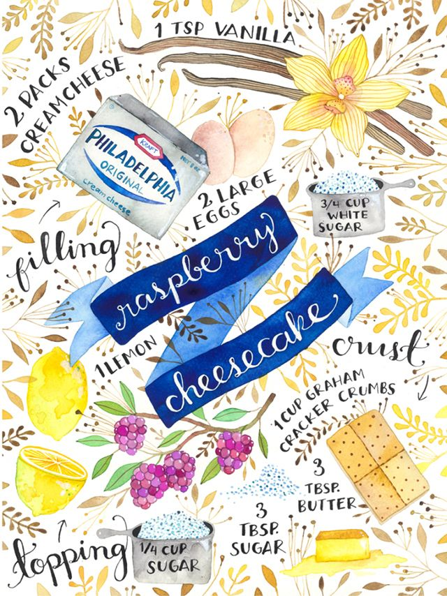 Illustrated Recipes by Ana Victoria Calderón - Raspberry cheesecake