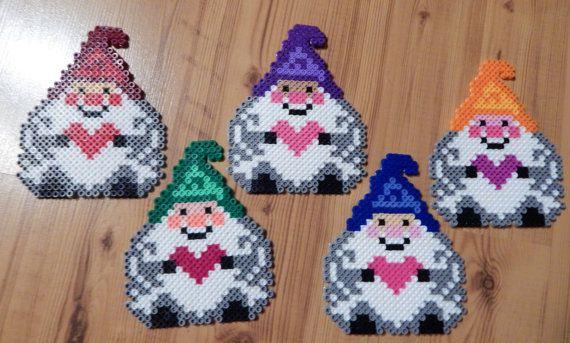 5 Gnomes Elves Dwarves Perler Bead Art Coasters
