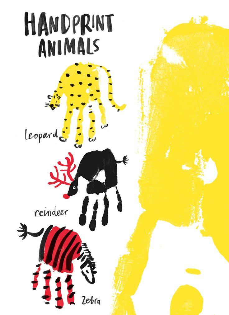 Handprint animals -reindeer for Xmas cards