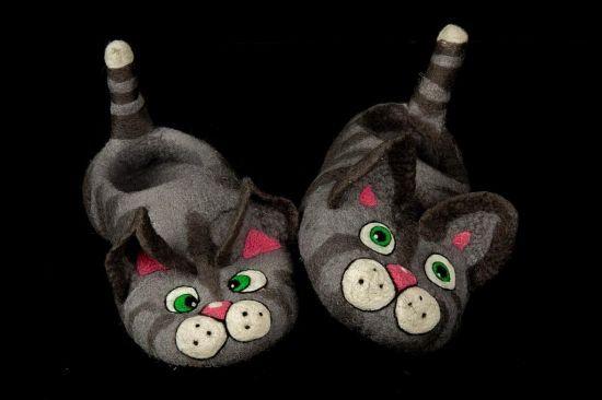 """валяные тапочки """"Мартовские коты"""". World of tame wool"""