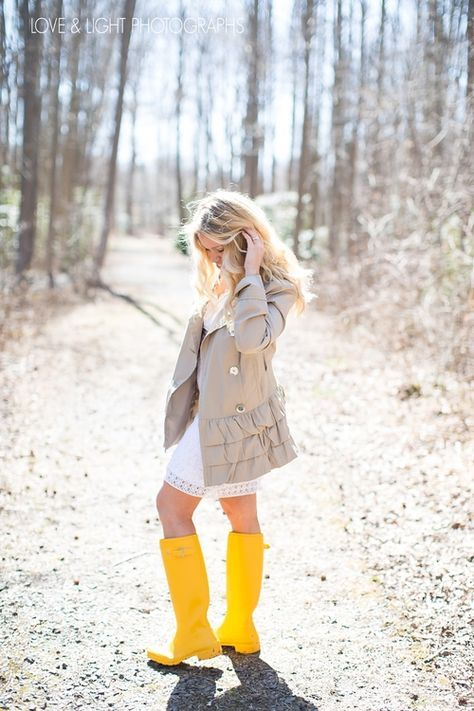 Spring inspired little white dress with trench coat and yellow hunter rain boots