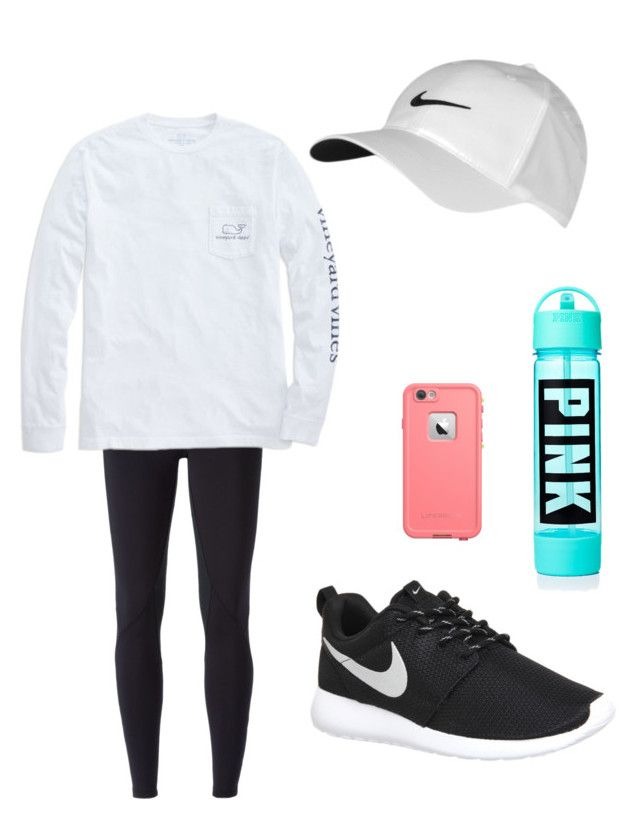 """Working out"" by nayabryant on Polyvore featuring NIKE, Vineyard Vines, women's clothing, women's fashion, women, female, woman, misses and juniors"