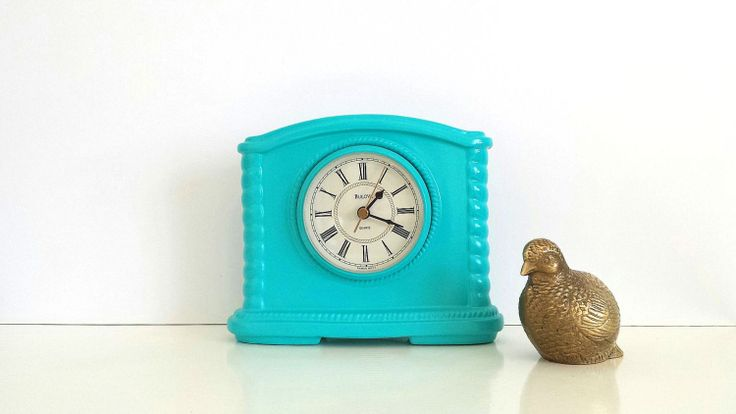 Turquoise+Clock+++Aqua+Table+Clock+Mantel+Clock+by+CurrentClassic,+$26.00