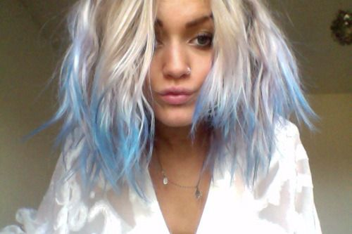 Blonde With Baby Blue-Tipped Hair, Wearing A Nose Ring/Hoop