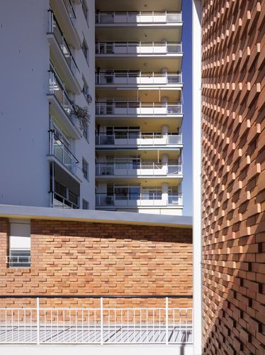 patterned brick skin - feature wall