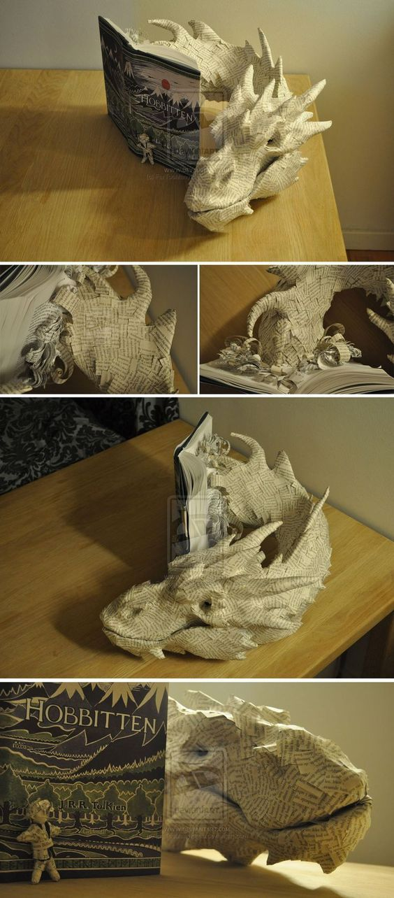 """Beautiful Paper ART Sculpture - Smaug / Lord of the Rings by VMCreations aka """"FarTooManyIdeas""""  on DeviantarT"""