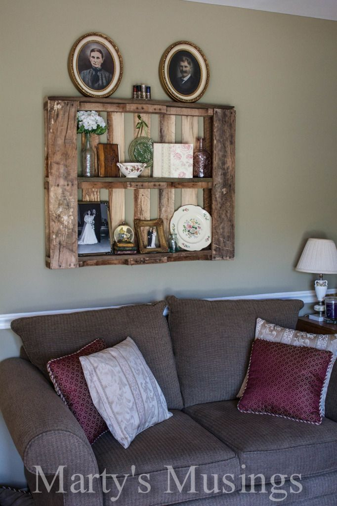 Decorating with pallet shelves from Marty's Musings