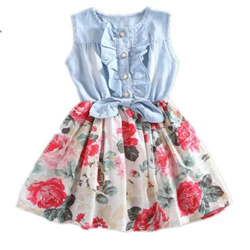 Girls Flower and Denim Party Dress