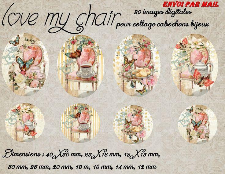 """80 images pour collage digital cabochons bijoux """"Love my chair"""" envoi par mail, chaise, papillons, beige, bleu : Loisirs créatifs, scrapbooking par miss-coopecoll"""