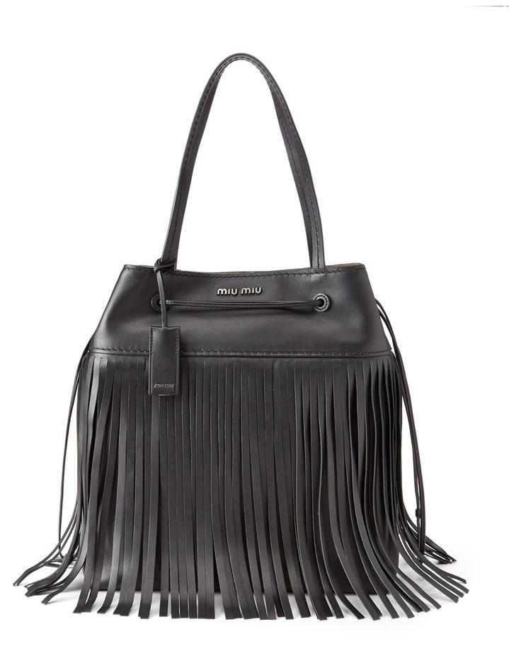 Spotted this Miu Miu Montana Fringe Leather Bucket Bag on Rue La La. Shop (quickly!).