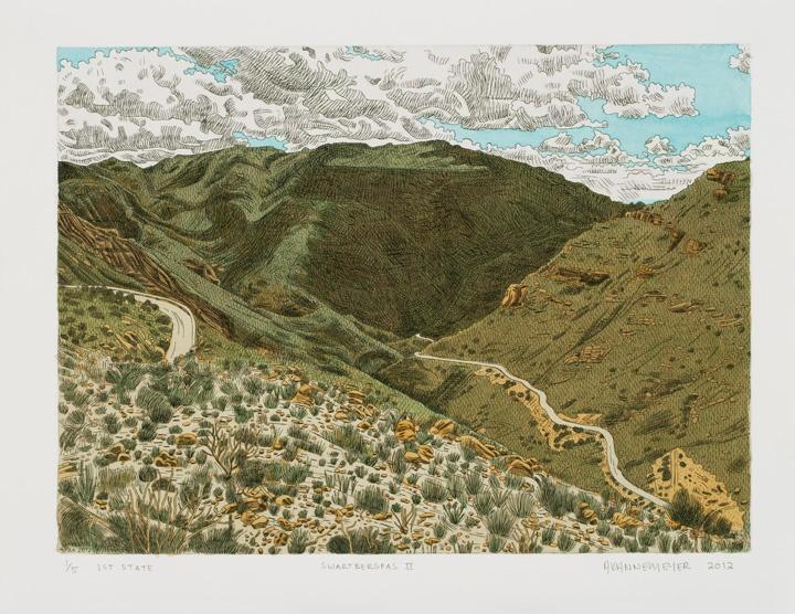 Anton Kannemeyer    Swartbergpas II  2012  Acrylic hand-coloured etching (1st state)