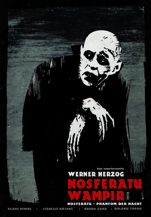 Nosferatu, Phantom der Nacht   Nosferatu Wampir. Original Polish movie poster film, Germany. Director: Werner Herzog. Actors: Klaus Kinski, Izabelle Adjani. Designer: Ryszard Kaja.