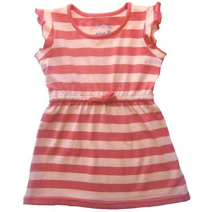 Stylish yet affordable, your little girl will stand out from the crowd in this peach and coral striped dress.