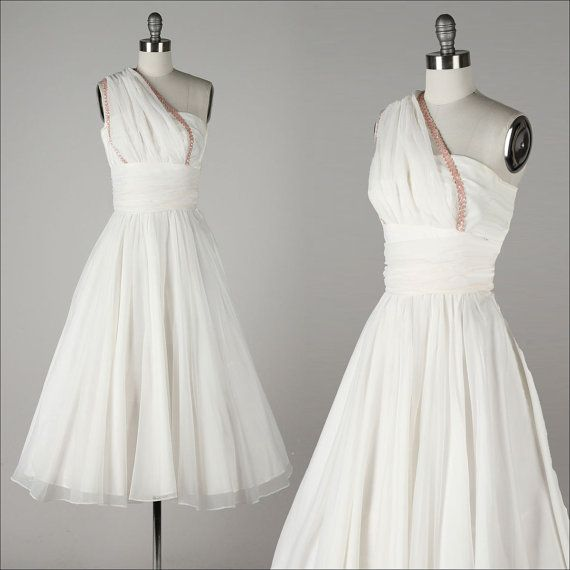 Hey, I found this really awesome Etsy listing at https://www.etsy.com/listing/206550617/vintage-1950s-dress-white-chiffon-one