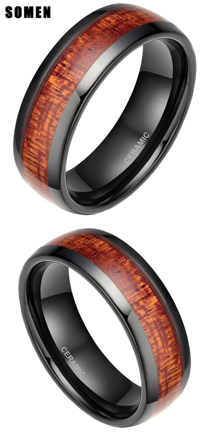 [visit To Buy] 8mm Men's Black Ceramic Ring Wood Inlay Polished Mahogany  Male Wedding