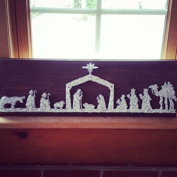 Christmas Nativity String Art unique nativity by BlossomsNKnots